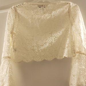 Ladies LC Lauren Conrad lace mid drift lace top